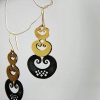 Triple heart spiral with reunion angel earrings